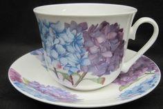 Hydrangea English Bone China Tea Cups Set of 2 - English Tea Cups - Roses And Teacups