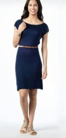 COTTON THERAPY  SCOOP BACK DRESS NAVY INT05127103 SIZE L   $48 Value