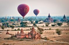 Balloons over Burma.  The texture of the  landscape looks almost like it is painted on silk.