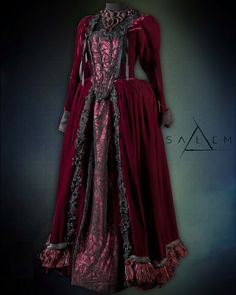 Mary Sibley dress of deep red silk velvet. Underskirt and bodice overlayed in an organic black lace. Season 2