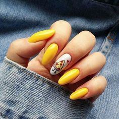 To make your yellow nail art design look more special, you can also incorporate some patterns like strips, polka dots, leopard prints and zebra prints into your nails. Summer Acrylic Nails, Best Acrylic Nails, Acrylic Nail Designs, Summer Nails, Gel Manicure Designs, Manicure Ideas, Nail Tips, Neon Yellow Nails, Yellow Nails Design