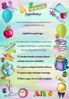 """Jogosítvány"" :-) 3.o. végén Teaching Displays, School Border, Motivational Gifts, School Programs, Best Mom, Special Education, Kids And Parenting, Diy For Kids, Back To School"