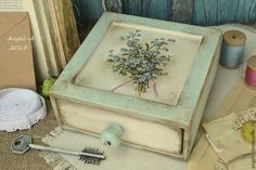 Купить Незабудки букет Шкатулка - голубой, незабудки, букет цветов, шкатулка, шкатулка для украшений