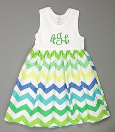 Turquoise and Green Chevron Lily Dress  www.facebook.com/Southerntots