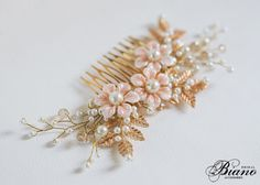 Bridal Comb Wedding Flower Hairpiece Gold CombBridal by Bianoco