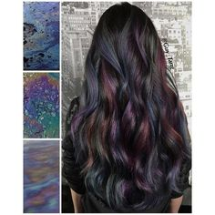 Oil Slick Hair Color ❤ liked on Polyvore featuring beauty products, haircare and hair color