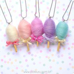 colar algodão doce - pingentes doce, bijoux infantil, acessorios kids, bijuteria, cotton candy, gourmet, lembrancinha festa infantil, rosa, princesa
