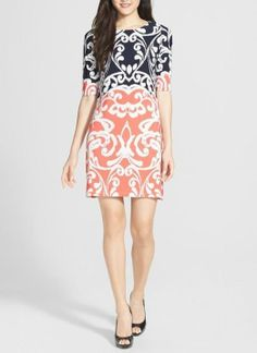 Picture perfect for spring! Love this printed sheath dress.