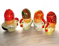Vintage Little Chickens Egg Cups Ceramic Luster by PaperParticles, $56.00