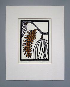 Items similar to Pine Cone Block Print Handmade Linocut on Etsy Linocut Prints, Art Prints, Linoprint, Tampons, Kirigami, Woodblock Print, Gouache, Making Ideas, Printmaking