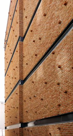 Image 10 of 17 from gallery of NoXX Apartment / CM Architecture. Photograph by Cemal Emden Brick Architecture, Contemporary Architecture, Architecture Details, Wooden Cladding, Brick Cladding, Brick Design, Facade Design, Design Design, Building Facade