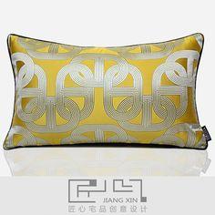 匠心宅品现代中式样板房/软装靠包抱枕黄滚边几何提花腰枕{不含芯