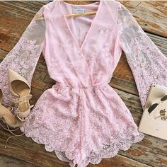 Cute Summer Outfits, Spring Outfits, Girl Outfits, Cute Outfits, Fashion Outfits, Lace Playsuit, Mode Chic, Playsuits, Jumpsuits