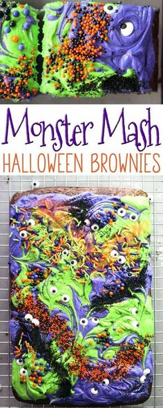 Scary-Cute Monster Mash Halloween Brownies Halloween Season is officially here! The time of monsters and scary movies, haunted houses and spooks. It is also the time for sticky-sweet treats like these Monster Mash Halloween Brownies. via This Cook That Halloween Brownies, Dessert Halloween, Halloween Fruit, Halloween Goodies, Halloween Food For Party, Halloween Cupcakes, Spooky Halloween, Holidays Halloween, Happy Halloween