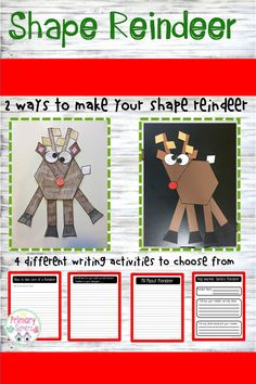 Who needs a cute December/Christmas Craft! This shape reindeer is too cute! It is made up of 2 D shapes. Creative writing activities are included Math Classroom, Kindergarten Activities, Writing Activities, Classroom Resources, Craft Activities For Kids, Christmas Activities, Christmas Crafts, Reindeer Craft, Cycle