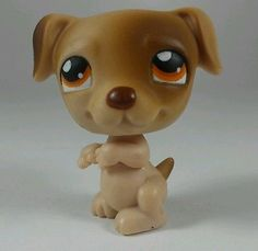 Littlest Pet Shop LPS Jack Russell Dog #109 Tan Brown With Orange Eyes Christmas