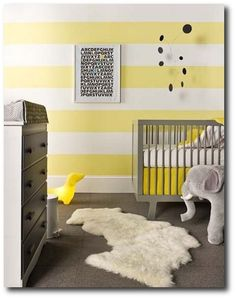 Gray and Yellow Nursery with Striped Walls