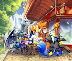 Pokemon : Lost in Lumiose by Sa-Dui.deviantart.com on @deviantART (Delphox, Meowstic (female), Aerodactyl, Lucario, Lantern and Zweilous)