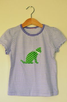 Maisey the cat purple lilac striped summer t-shirt top with green polka dot cat age 4. $16.00, via Etsy.