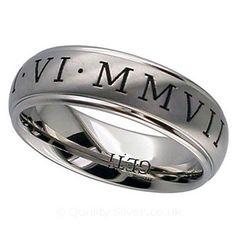 Geti Titanium Roman Numeral Ring Geti Titanium Rings available from http://www.qualitysilver.co.uk/Jewellery/Geti-Rings.html