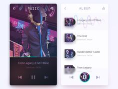Music by Buck - Dribbble Ui Design Mobile, Web Ui Design, Mobile Ui, Tron Legacy, Music App, Daft Punk, Screen Design, User Interface Design, Graphic Design Inspiration