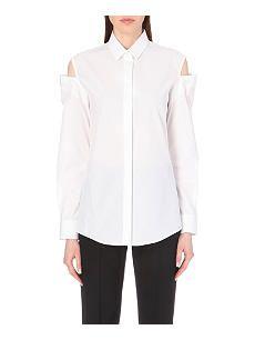 MAISON MARTIN MARGIELA Cut-out shoulder cotton button-down shirt