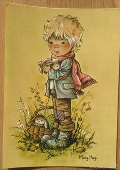 Niño con conejos- Ilus. Mary May