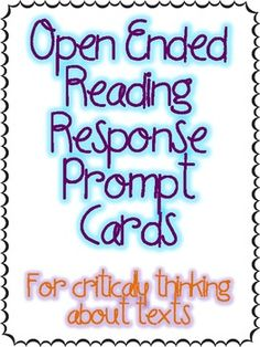 "A free set of 20 Open Ended Question Prompt Cards for your students to use to extend their critical thinking and comprehension on texts. Students have an open ended prompt like. ""Would it be better if ______________________?"" and they must fill in the blank and answer their own question. Reading Resources, Reading Activities, Reading Strategies, Reading Comprehension, Reading Skills, Comprehension Questions, Reciprocal Reading, Guided Reading, Close Reading"