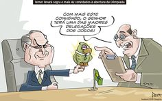 Charge de opinião do Dum sobre os convidados de Temer para a abertura da Olimpíada (29/07/2016). #Charge #Dum #Temer #Rio2016 #Olimpíadas #JogosOlímpicos #HojeEmDia