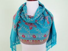 Vintage Turquoise Floral Pashmina  Vintage by ChinaCatVintage