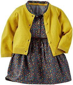 Carter's 2 Piece Dress Set (Baby)-Yellow/Navy Carter's is the leading brand of children's clothing, gifts and accessories in America, selling more than 10 Carter's Baby Girls' 2 Piece Dress Set (Baby)