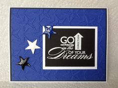 Graduation card using SU stamp, white embossing powder on black cardstock, stars punched the used Glossy Accents for shine.