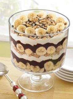 Chocolate-Banana Cream Trifle -- graham crackers, bananas, pudding, chocolate morsels and whipped topping