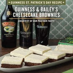 We're celebrating St. Patrick's Day with this delicious dessert recipe from our friends at Tasty: Guinness & Bailey's Cheesecake Brownies! Enjoy this St. Paddy's Day treat after a traditional Irish recipes like shepherd's pie or corned beef and cabbage. Pair it with the best St. Paddy's Day beer, Guinness Draught, and skip festive St. Patrick's Day drinks or green St. Paddy's Day cocktails. Click the link for this Irish dessert before March 17th! Happy St. Patrick's Day ☘️ Irish Recipes, Sweet Recipes, Baking Recipes, Dessert Recipes, Guinness Draught, Delicious Desserts, Yummy Food, St Patricks Day Food, Cheesecake Brownies