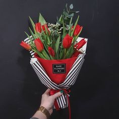 Red bouquet in paper
