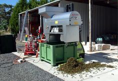 When you're small and money is tight, you get very creative during vintage time. Here's the crusher-destemmer held up by the forklift and plugged into the 3 phase generator. You do what you have to do to get the vintage done.... #owningawinery