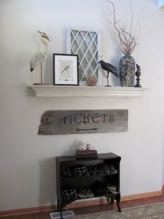 DIY mantle...made me think of spot in kitchen using just the mantel, maybe small free standing fireplace under,I imagine with chirstmas decorations : )