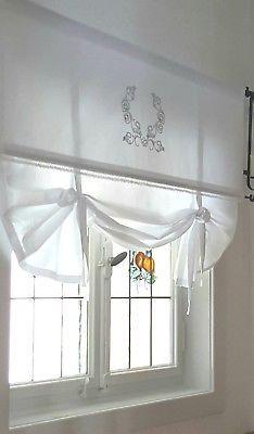 Raffrollo Shabby Ornament 80 100 120 140 155 Cm Breit Gardine Landhaus Ebay Raffrollo Gardinen Haus Deko