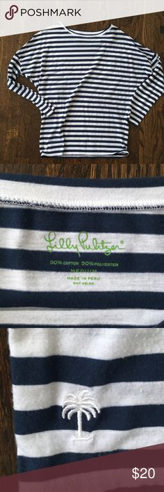 Lilly Pulitzer Pima cotton stripe long sleeve tee Worn 1 time. Super soft and cozy Lilly Pulitzer Tops Tees - Long Sleeve