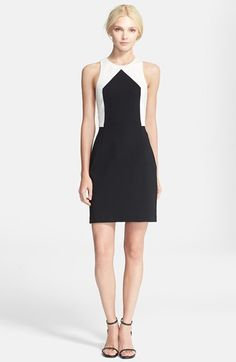 black and white point sheath dress