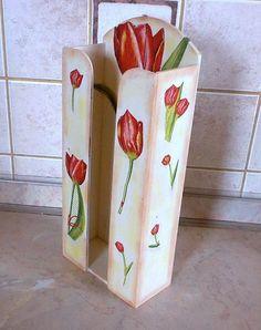 Papírzsebkendő tartó tulipános mintával ( 100-as)