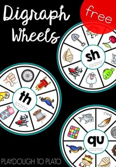 Free digraph wheels! Fun literacy center or word work activity for kindergarten or first grade. (affiliate)