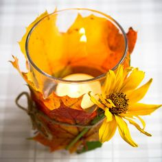 Sunshine Glow Autumn Leaves Votive | AllFreeDIYWeddings.com