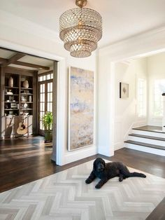 "herringbone tile ""rug"" inlay surrounded by dark hardwood floors. herringbone tile ""rug"" inlay surrounded by dark hardwood floors. perfect for a foyer. Wood Floor Stairs, Wood Tile Floors, Hardwood Floors, Stone Stairs, Hardwood Stairs, Vinyl Flooring, Entry Tile, Entry Foyer, Open Entryway"