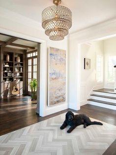 Floor Transition | Foyer Entry| Herringbone Pattern | Wood Flooring, herringbone inlay in wood floors.