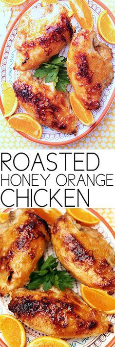 Roasted Honey Orange Chicken #chicken #roastedchicken #recipes #comfortfood #cooking