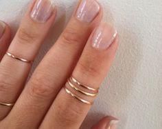VENTA Amor doble nudillo anillos en oro rosa  set de 2 por galisfly