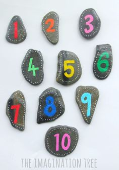 Number pebbles for maths play and learning games