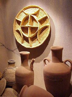 Baskets and jars used to store provisions for the pharaoh's afterlife