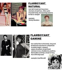 Kibbe differences: flamboyant natural vs flamboyant gamine / Shirley Maclaine / Liza Minnelli